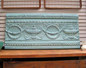 Antique Architectural Wall Art, Tin ceiling tile panel, Aqua turquoise metal wall decor, Large wall art, beach decor, boho decor