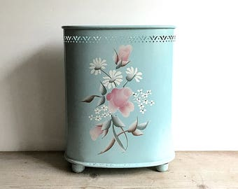Vintage Detecto Metal Waste Can Garbage Pail Tole Aqua Pink Floral