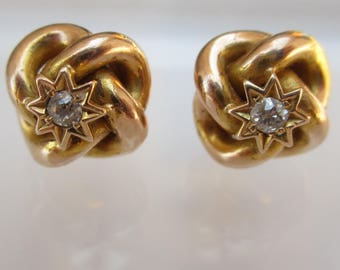 Antique 14 Karat Yellow Gold Love Knot and Star Diamond Earrings