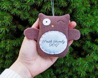 Personalized Owl Christmas Ornament, Family Christmas Personalized Ornament, Couple Custom Ornament - Brown Owl