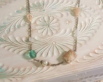 Boho Jewelry Wire Wrapped Bohemian Gypsy Necklace With Sea Glass Beads Minimalist Necklace