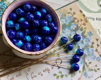 20 Vintage Lapis Lazuli Beads, Half Drilled Beads, One hole Beads, Cobalt Blue Beads, Button Beads, Made in Japan, Corona Brand Beads, B45