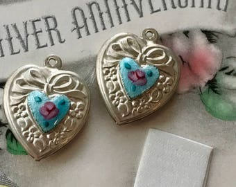 1 Sterling Heart Charm, Vintage Guilloche Heart Charm, Enamel Heart, Victorian heart charm, Hand Painted Rose, Valentines day Heart, #1164M