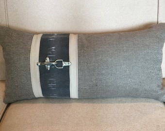 Oatmeal and Gray, Leather and Reclaimed Fire Hose Pillow