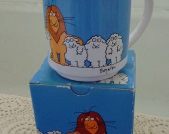 Sandra Boynton Lion and Lambs Coffee Mug, Vintage Japan Made Lion with Sheep