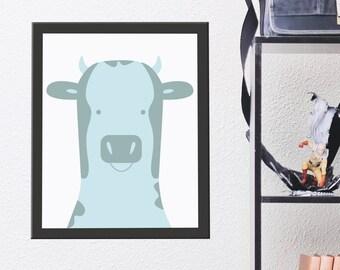 Nursery Animal Print, Cow Wall Art, Kids Room Poster, Printable Kids Gift, Printable Artwork, Instant Digital Download, Cute Pastel Blue Cow