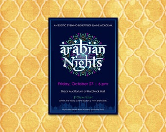 Arabian Nights Invitation / Theme Party / Moroccan / Thank You Card & Save the Date / DIY /Fundraiser Charity Wedding Birthday Prom Shower