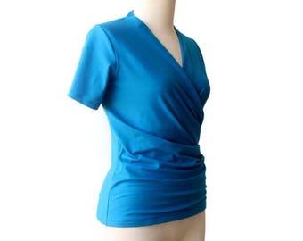 Azure blue Wrap top size S, Wrap top size M, Wrap top size L, Wrap top size XL, Wrap top size XXL, Wrap top size 3XL, Wrap top custom size