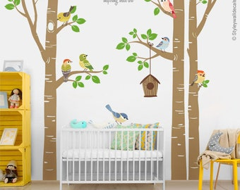 Trees and Birds Wall Decal, Forest Trees Birds Wall Decal Sticker, Trees Wall Sticker, Birds Nursery Wall Decor, Trees Baby Room Wall Decor