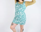 VTG 90s Y2K Baby Blue Turquoise Denim Floral Cartoon Mini Dress M/L