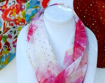 Infinity Tube Scarves, Soft Round Scarves, Short Tube Scarves, Women's Short Floral Circle Scarf,  Handmade  Colorful Tube Scarves