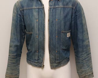 Vintage mens worn blue jean jacket with blanket lining/ Power House 101