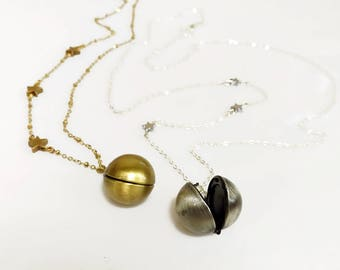 Orb Locket Necklace, Planet and Stars Steampunk Necklace, Gold Locket Necklace, Silver Locket