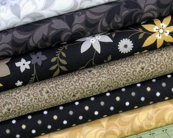 Six Fabrics in Black, Gold, Gray and White from Flint Collection by Red Rooster Fabrics, Cotton Quilt Fabric Bundle, Fat Quarter, Yardage