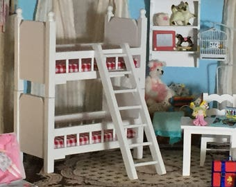 Miniature White Bunk Beds With Ladder, Mini Bunkbeds, Dollhouse Miniature, 1:12 Scale, Dollhouse Furniture, Red and White Mattress