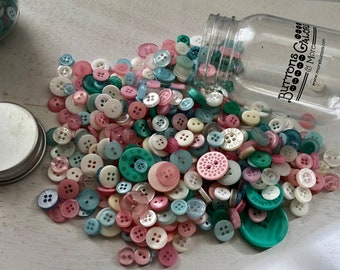 """Hand Dyed Buttons, """"Fantasy"""", Mixed Buttons, 200 Buttons, Plastic Mini Mason Jar by Buttons Galore, 2 & 4 Hole Assortment"""