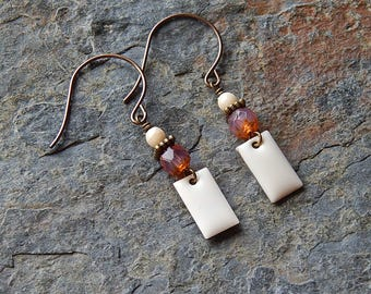 Pretty pink and white dangle earrings  - picasso glass - vintage enamel charm - boho style - charming - everyday bohemian jewelry