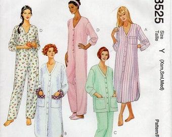 "1990s Onesie Pajamas Pattern - Vintage McCall's 8525 - Bust 30 1/2 to 36"" UNCUT FF"