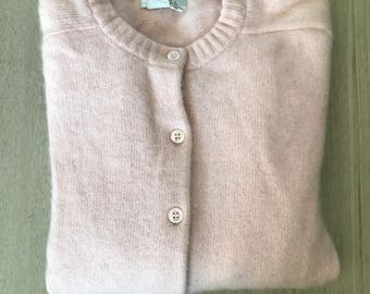 Vintage Blush Pink Fuzzy Cashmere Cardigan Sweater