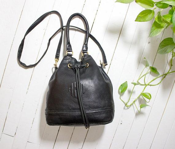 Vintage Leather Bucket Bag / Drawstring Bucket Bag / Drawstring Purse / Leather Drawstring Bag / Black Leather Bucket Bag