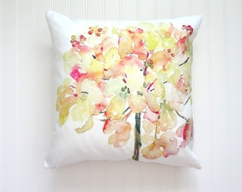Floral Pillow Cover, Light Yelow & Pink Hydrangea Watercolor Floral Pillow Covers, Designer Fabric, 18x18, 20x20