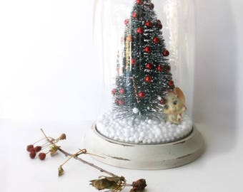 Vintage Glass Cloche Snow GLobe. Vintage Assemblage Christmas Dome. Vintage Style BottleBrush Tree w Whimsical Elf Decorating the Tree