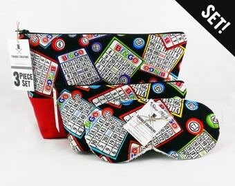 Bingo Toiletry Bag Set bingo bag bingo tote bingo sleep mask casino night poker vegan bachelorette las vegas wedding casino gifts bingo usa