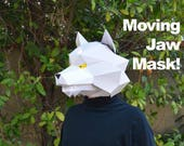 Wolf Mask with Moving Jaw! - Make a Paper Halloween Mask - Two Styles! | Animal Mask | DIY Paper Mask | DIY Mask | Werewolf Mask
