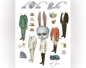 The White Rabbit - full color Big Eyes pop surrealism paper art doll sheet - by Mab Graves
