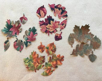 Fabric Fall Leaves Appliques-Cotton Fabric Applique-Fall Thanksgiving Fabric Iron On Stickers-Quilting-Decorations-Fabric Embellishments
