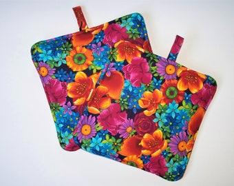 Bright Flowers,Set of 2 Heavy Duty,Thick,Pot Holders,Kitchen Hot Pads,Trivets,Summer Flowers Bold and Colorful
