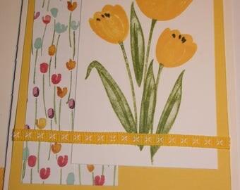 Tulip birthday card, blank inside, matching envelope offering free shipping