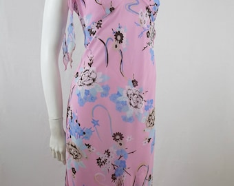 Vintage 90s Forelle Pink White and Blue Floral Light Summer Party Day Dress