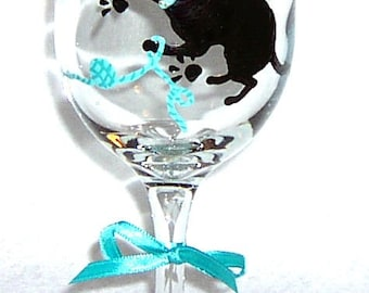 Cat Silhouette Wine Glass Hand Painted