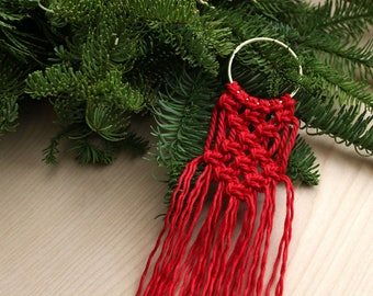 Red Macrame Christmas Ornament on Gold Hoop