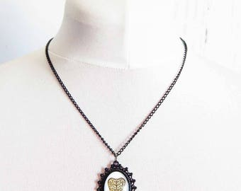Gunmetal Black Ouija Board Planchette Necklace, Black Ouija Planchette Necklace, White Ouija Planchette Necklace, Black Ouija Board Necklace