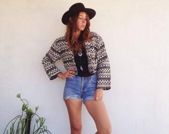 SALE Vintage 90's Southwest Cropped Blazer Jacket / Black and White Geometric Tribal / Boho Hipster Women M / L