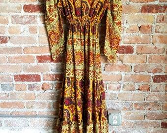 vintage 70s Indian cotton gauze   maxi dress ethnic block print leg of mutton sleeve goddess hippie boho