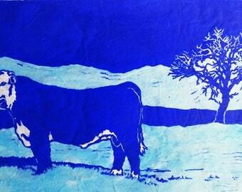Bull in Winter - Original Linocut (Brown or Blue)