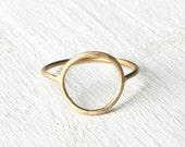 Open Circle ring, solid 14k yellow gold ring, halo thin gold ring, open circle gold ring , eternity ring, karma ring handmade