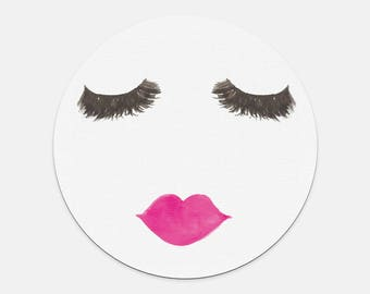 Lashes and Lips Round Mousepad  | gift, Bossbabe, R+F, friend, salon, office, desk