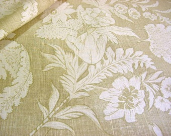 """Laura Ashley Decorator Floral Fabric -English Country Print -Neutral Beige Cream Tonal Tulip Flowers Ferns Fronds Home Decor 57"""" wide BTY"""