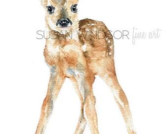 Deer Fawn Watercolor Painting Giclee Print 8x10 Nursery Art - 8.5x11