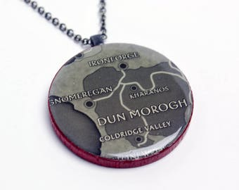 Upcycled World of Warcraft Map Necklace in Gunmetal - WoW Necklace, Dun Morogh Necklace, Ironforge and Gnomeregan Necklace, Upcycled, OOAK