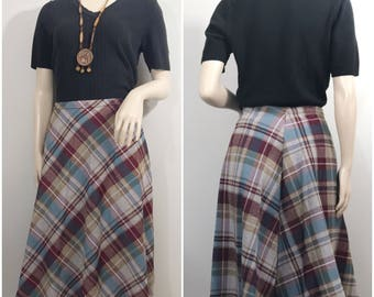 Plaid Skirt by Lady Blair // Tan, Burgundy, and Green Plaid Skirt
