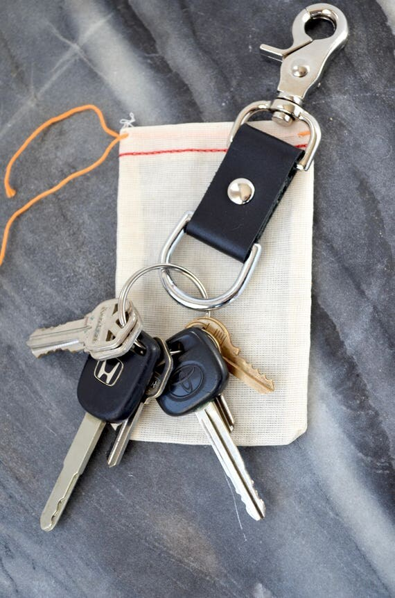 "The ""Nomad"" Leather Keychain - A Johnny Longpants Design. Handcrafted full grain leather keychain. Heavy duty clasp in your choice of finish"
