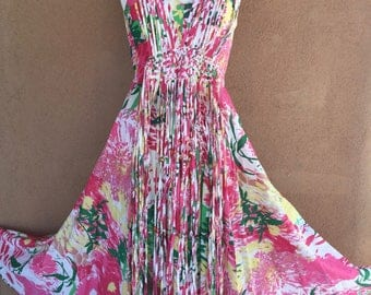 Maxi Summer Dress - Sleeveless Pink, Green and Yellow Cotton with Beaded Fringes -