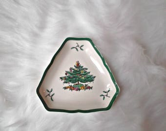 Vintage Spode Candy Dish, Christmas Tree Candy Dish, Christmas Nut Dish, Ceramic Trinket Dish, Rustic Christmas, Gift For Her, Hostess Gift