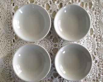 Ironstone Butter Pats, Vintage White Ironstone  Salts, Set of Four, Farmhouse Decor