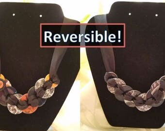 Reversible, Industrial Chic Upcycled Hardware Jewelry - Black and White on one side for everyday and Halloween on the other